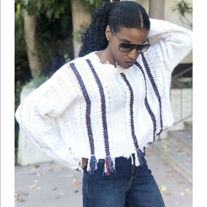 Cropped Wool Fringe Knitted Sweater
